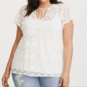 Torrid Lace Cream Tie Neck Top
